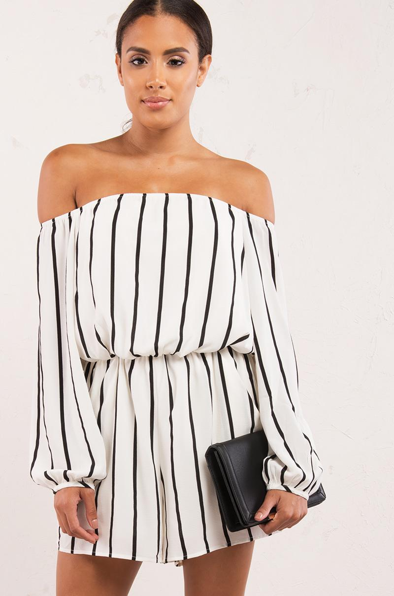 a22e39f02cc2 Lyst - AKIRA Lines Make Everything Better Off Shoulder Romper in Black