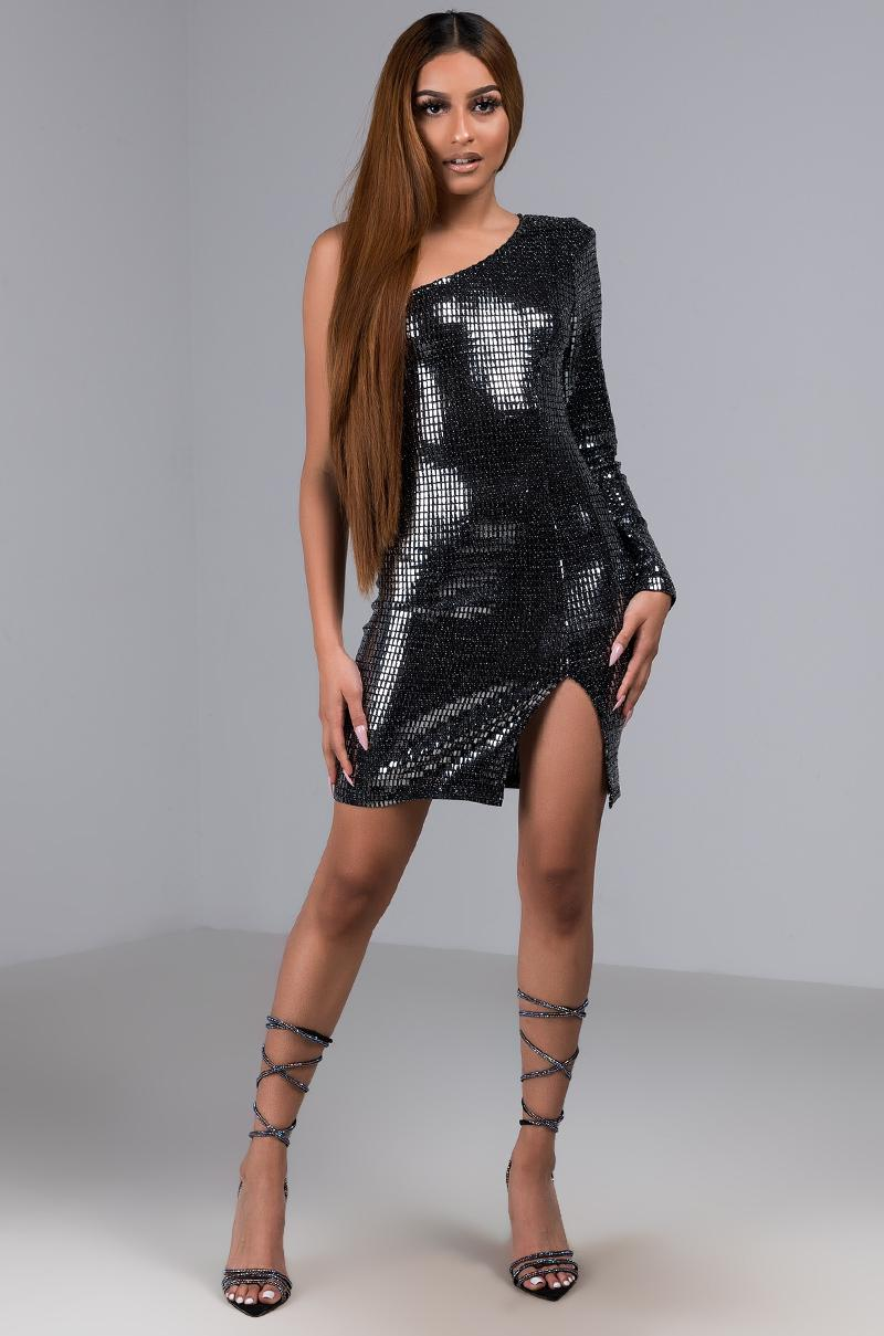d64a0d00779 Akira - Metallic Diamonds On Me One Shoulder Sequin Mini Dress - Lyst. View  fullscreen
