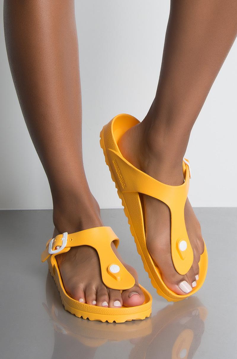 f7dd22ebcb57 Birkenstock Essentials Gizeh Eva Flat Sandal in Yellow - Lyst