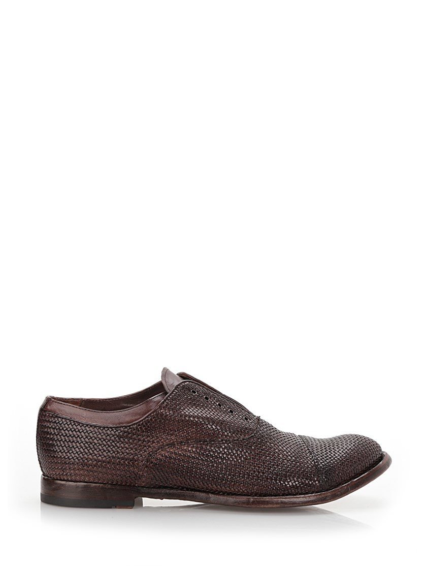 officine creative braided leather derby shoes in brown for