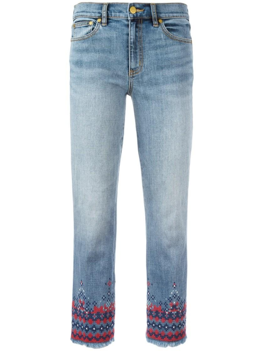 Tory burch embroidered cropped jeans in blue lyst