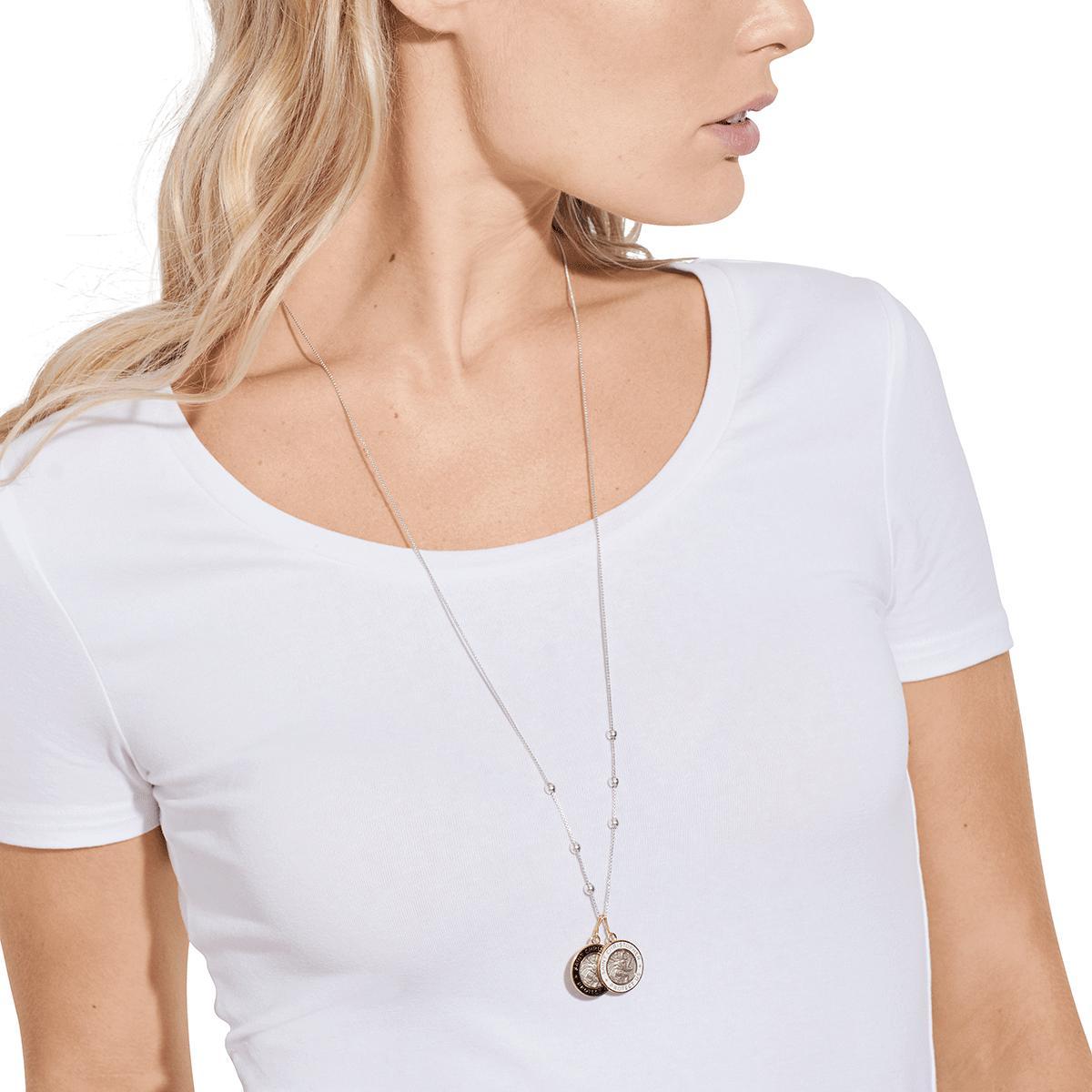 95a2e67e301 ALEX AND ANI - Metallic White Enamel Saint Christopher Necklace Charm -  Lyst. View fullscreen