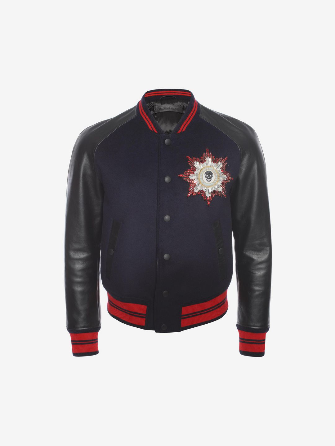 24583b2ce0d Alexander McQueen Skul Embroidered Bomber Jacket in Blue for Men - Lyst