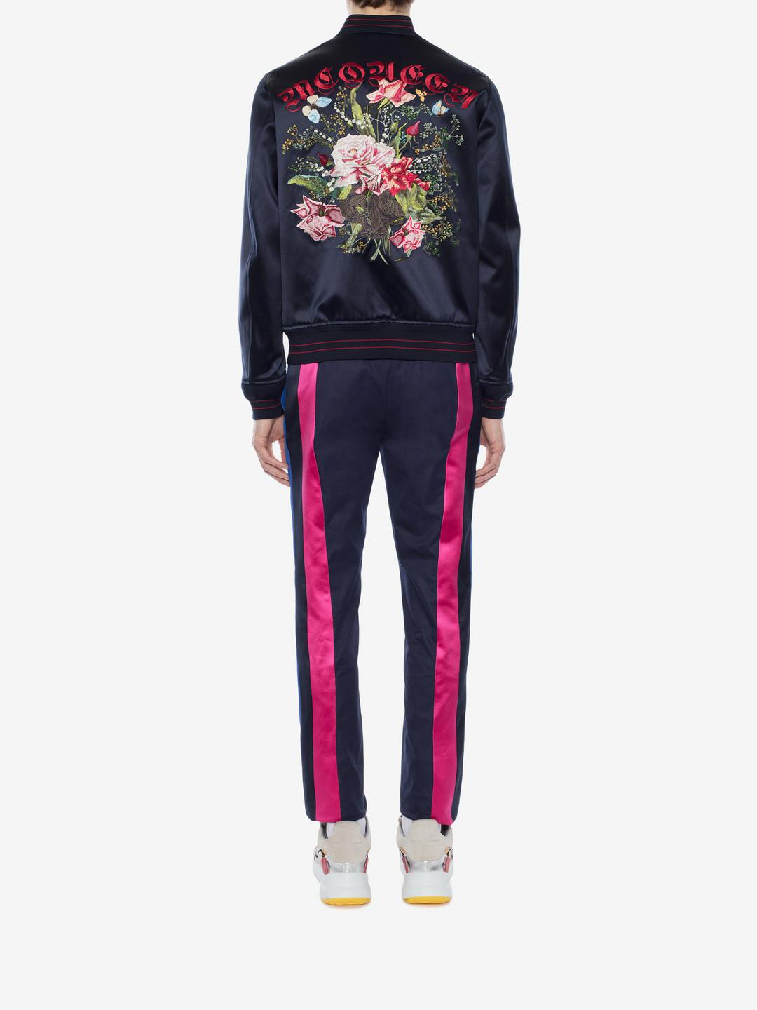 c317be7618e Alexander McQueen Embroidered Skull And Flower Bomber Jacket in Blue ...