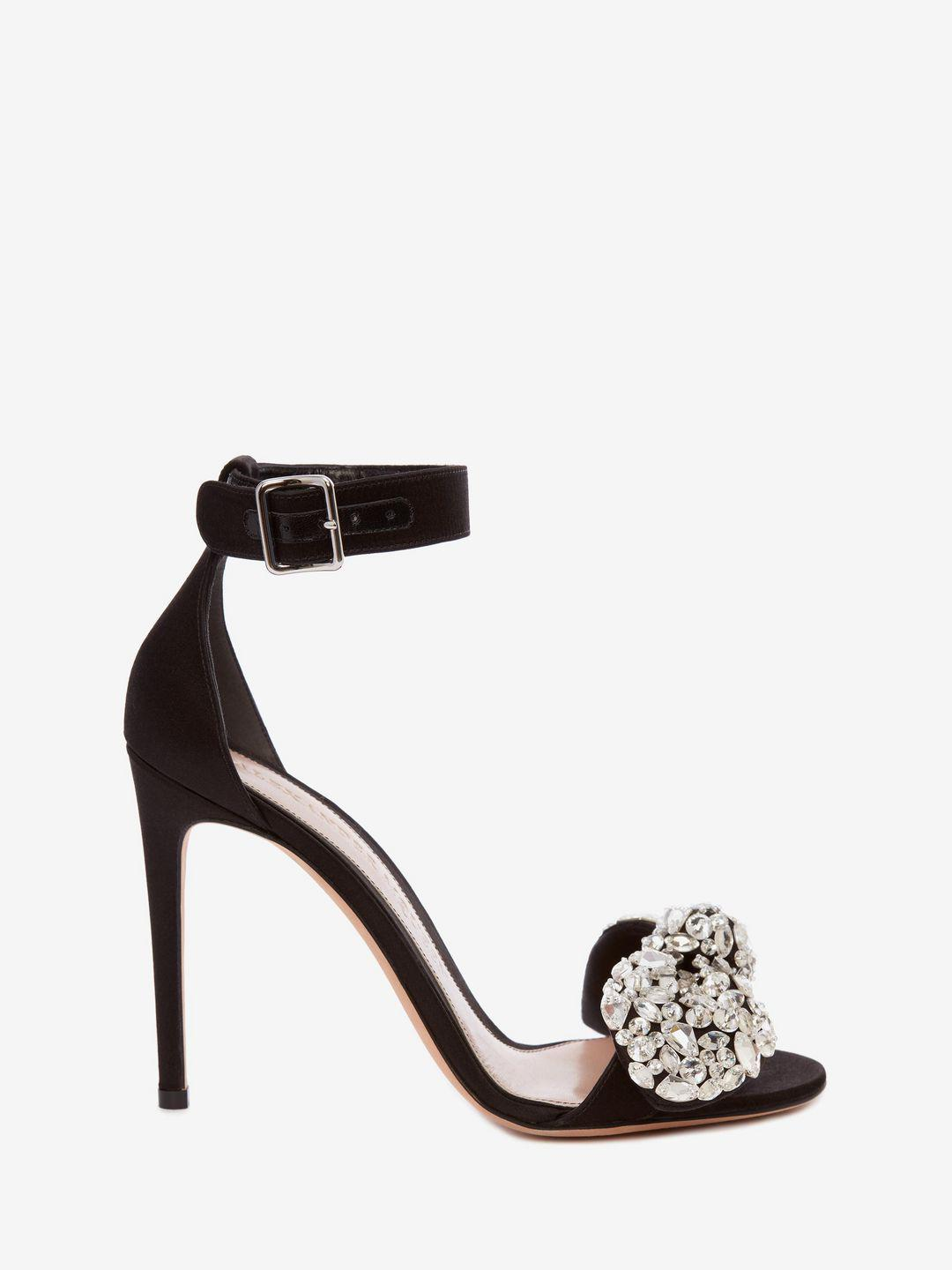 97e57c9f21b Lyst - Alexander McQueen Bow Embroidered Sandal in Black