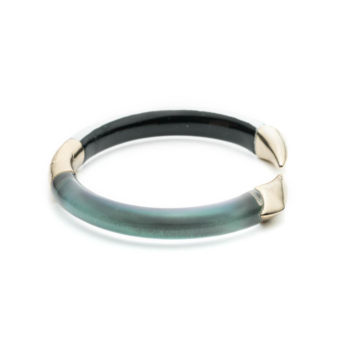Alexis Bittar Mirror Break-Hinge Bracelet, Blue