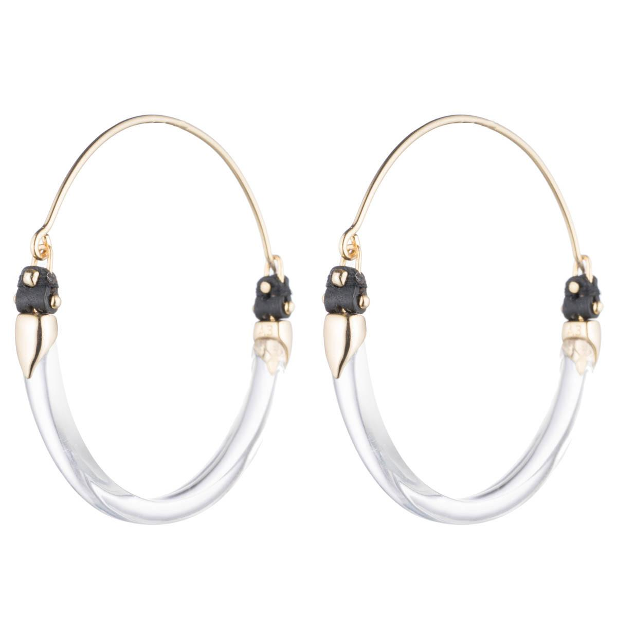 Alexis Bittar Leather Accented Hoop Earring Clear