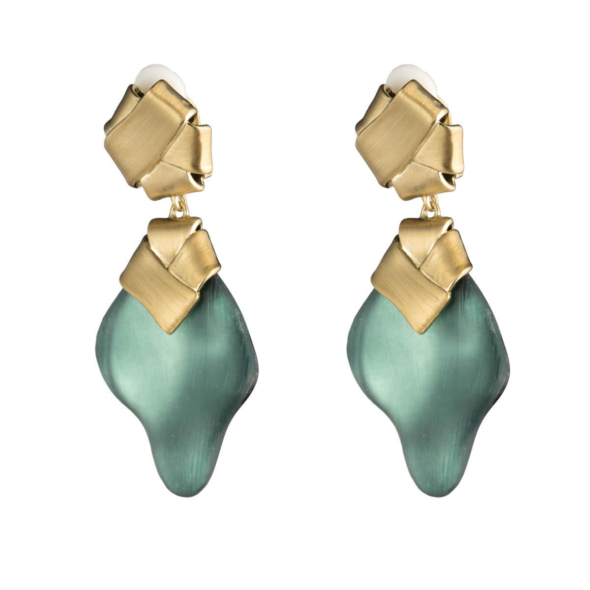 Alexis Bittar Folded Knot Dangling Clip Earring Teal blue Gy7uN
