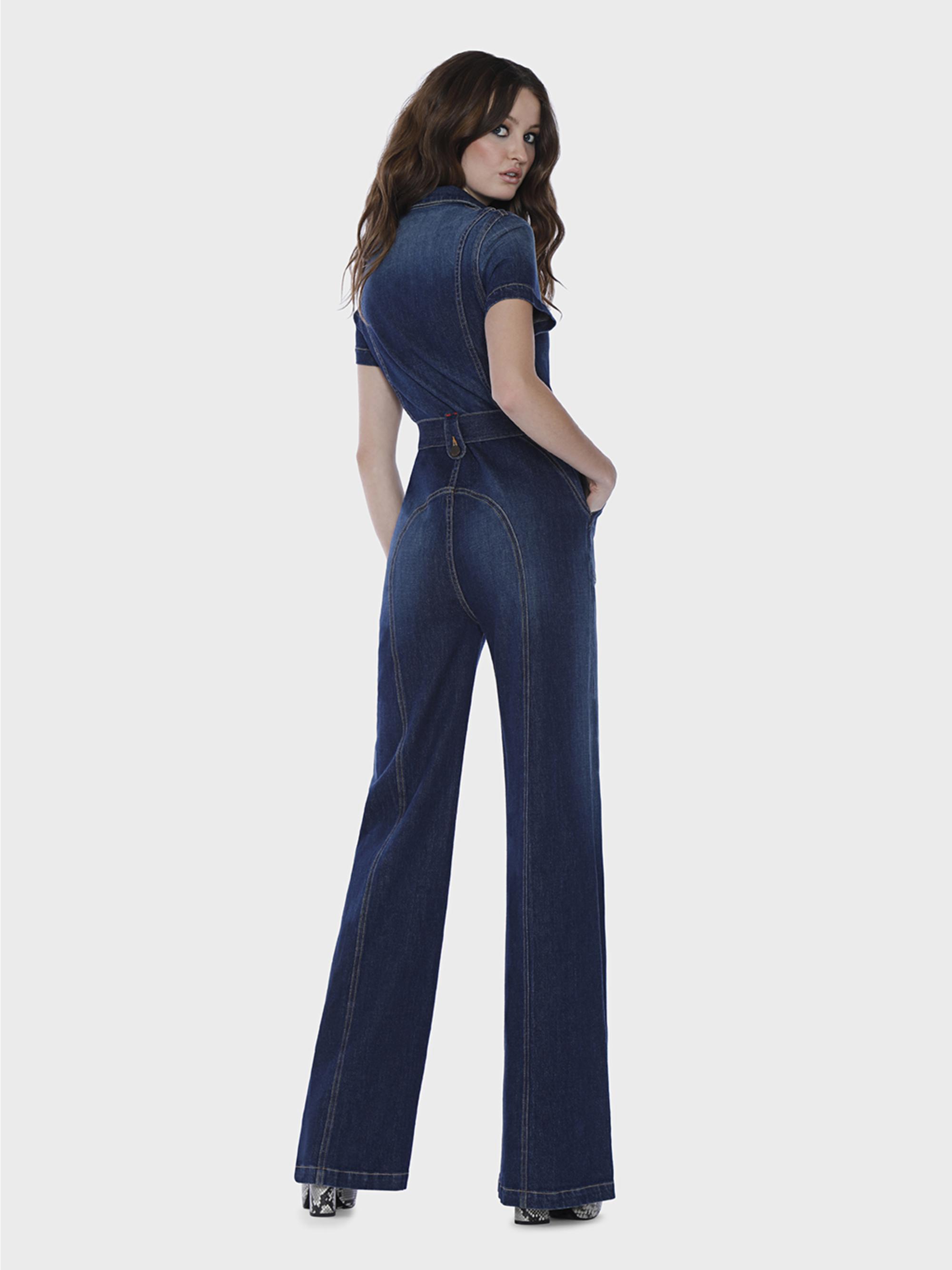 45f086f14de Alice + Olivia Gorgeous Wide Leg Jumpsuit in Blue - Lyst