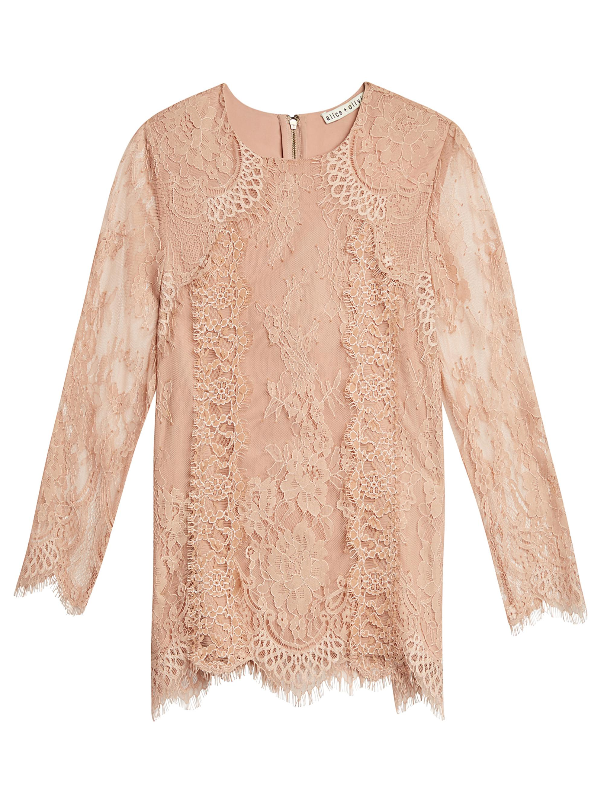 f9b26e617c929 Alice + Olivia Hildie Lace Combo Crew Neck Blouse - Lyst