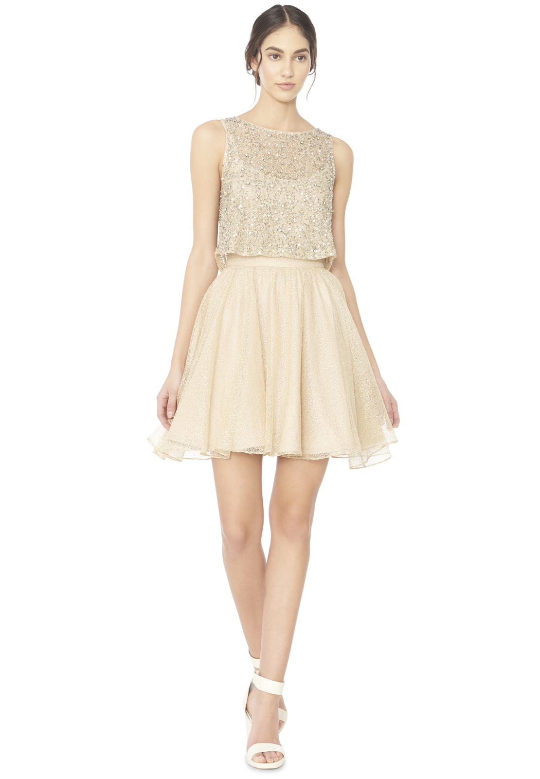 Lyst alice olivia hilta beaded flare dress in natural gallery ombrellifo Images