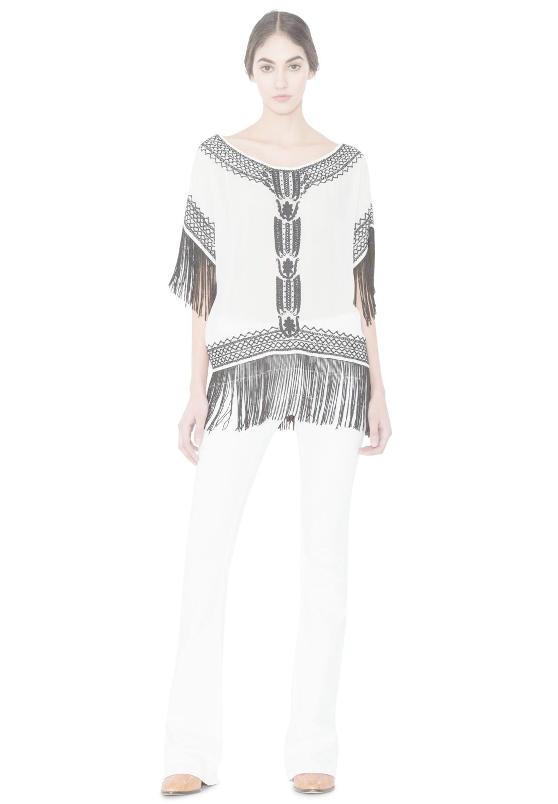 6f198c04f9c29 Lyst - Alice + Olivia Natalie Top With Fringe in Gray