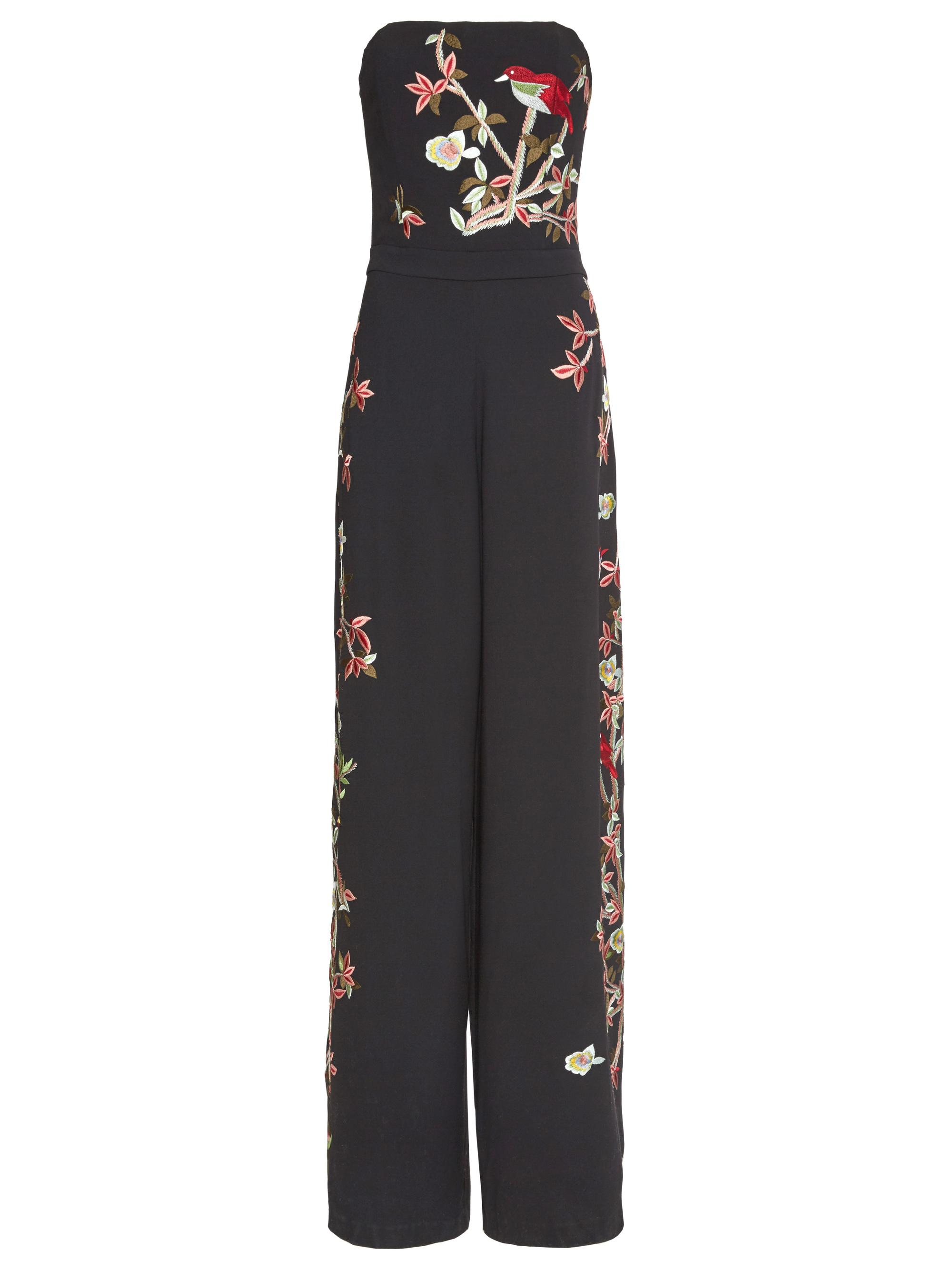 bb3edeff02e Lyst - Alice + Olivia Raven Strapless Embroidered Wide-leg Jumpsuit ...