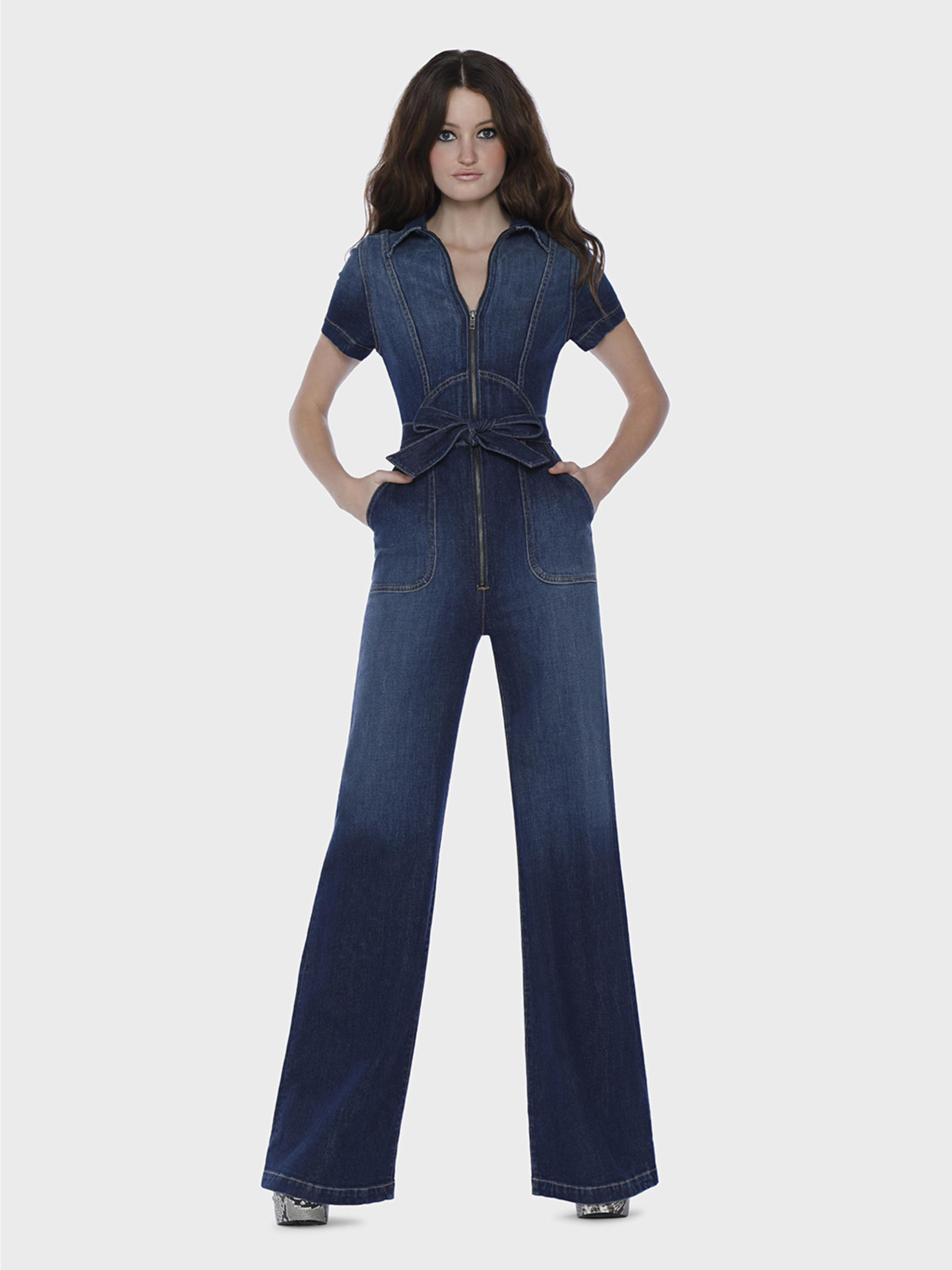 20bbe2bc243 Lyst - Alice + Olivia Gorgeous Wide Leg Jumpsuit in Blue