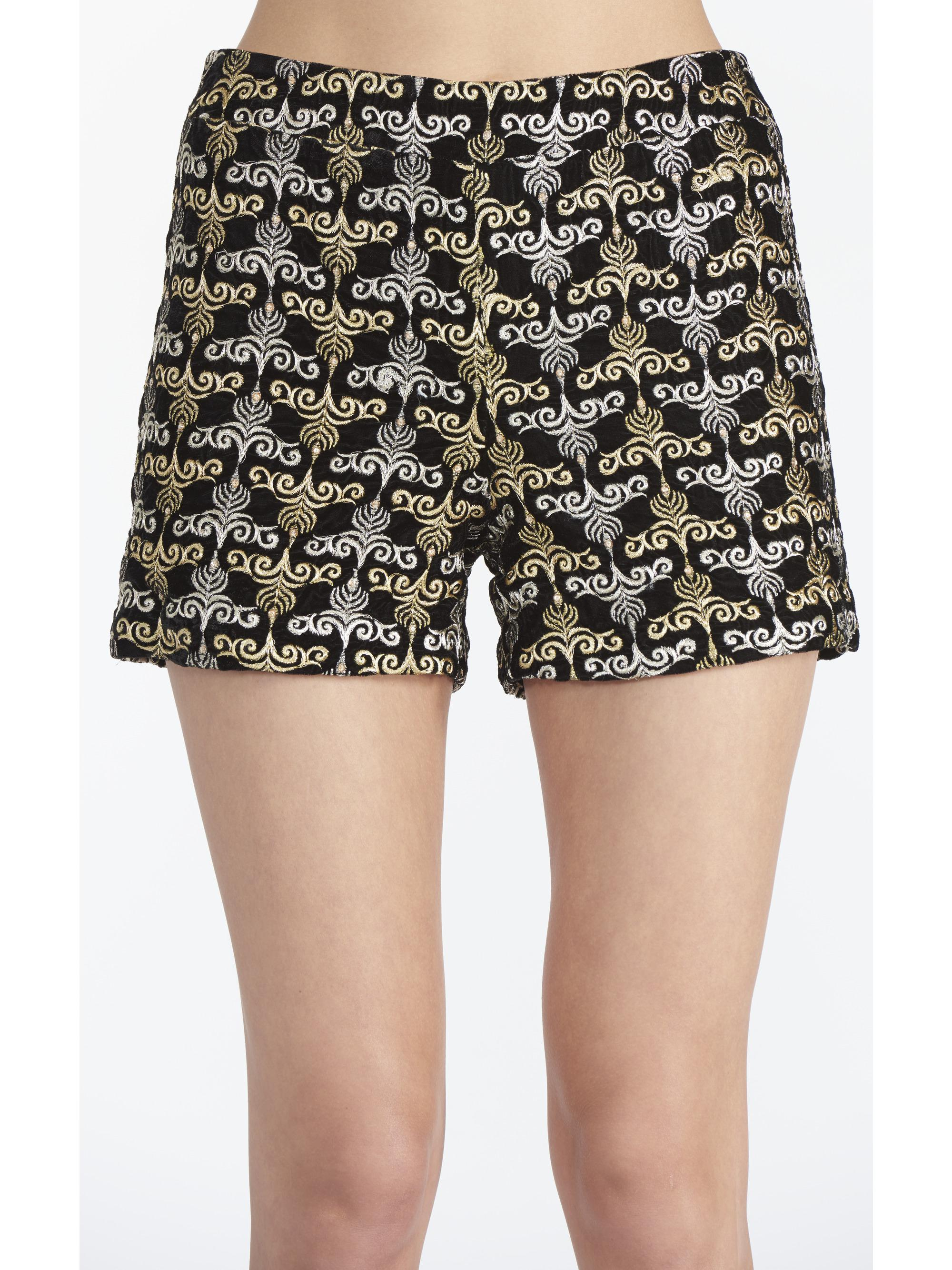f57987400c15 Lyst - Alice + Olivia Marisa Embroidered Back Zip Shorts in Black