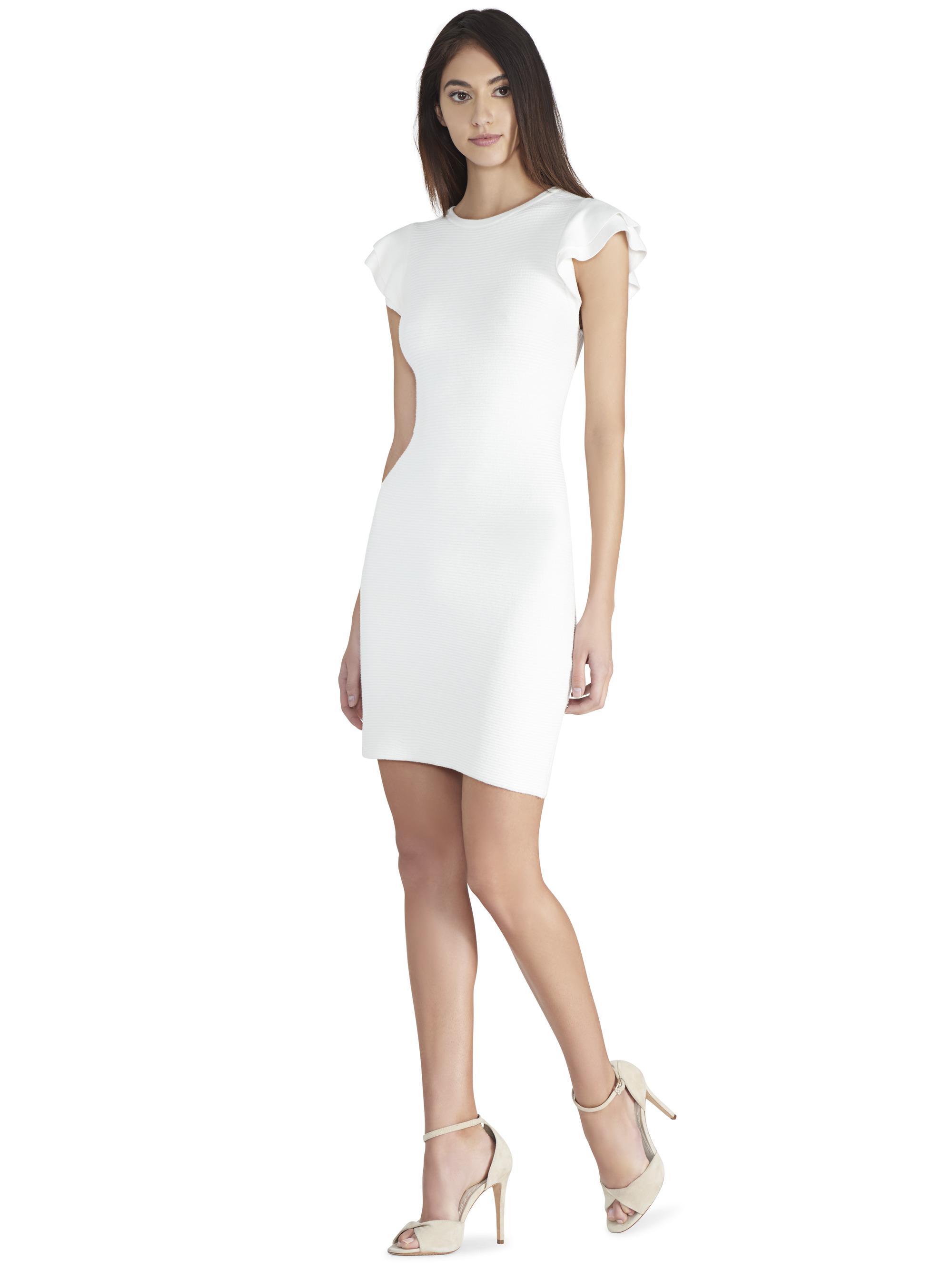 cc606a6ff8c Alice + Olivia Kellin Ruffle Sleeve Sweater Dress in White - Lyst