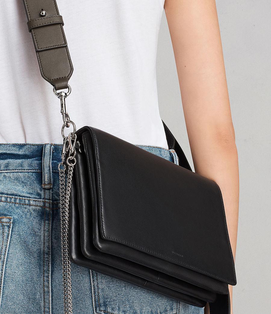 f0e2aec2bd6d Lyst - AllSaints Zep Leather Box Bag in Black