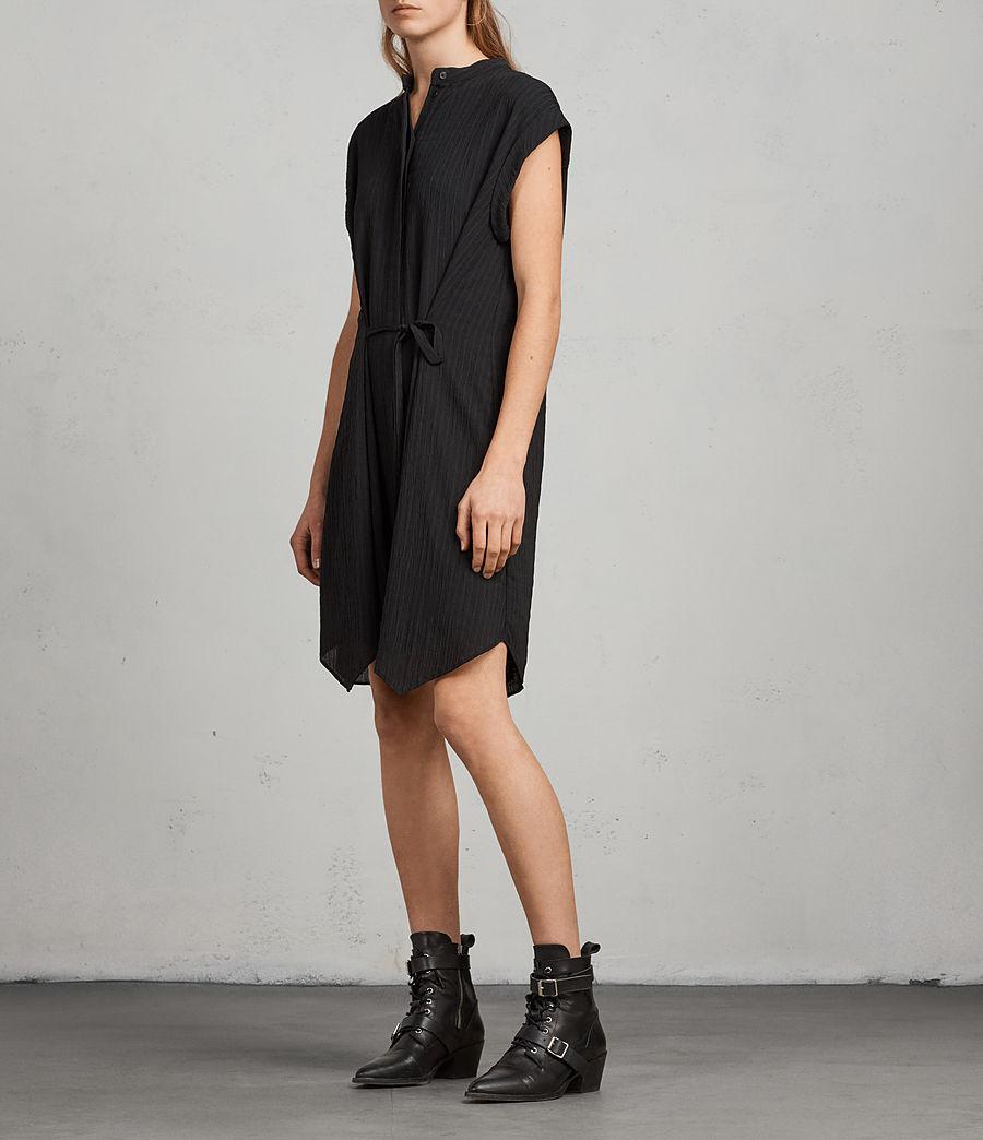6e4f48f2c0f4d AllSaints Meda Textured Shirt Dress in Black - Lyst