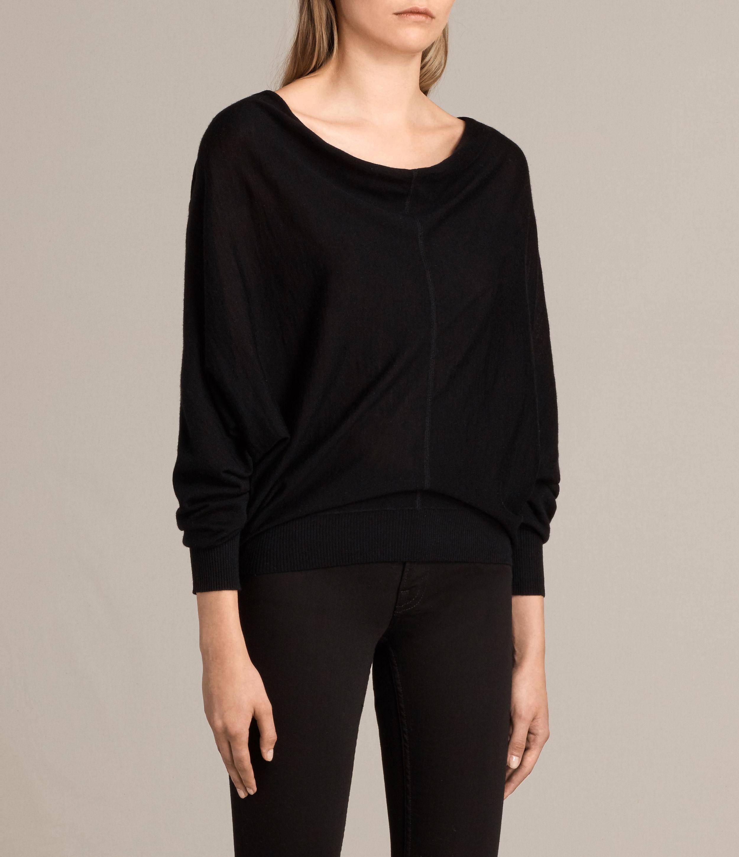Allsaints Elgar Merino Cowl Neck Sweater in Black | Lyst