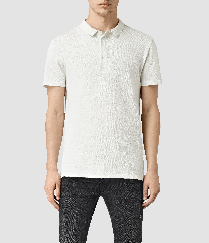Lyst Allsaints Gibbs Polo Shirt In White For Men