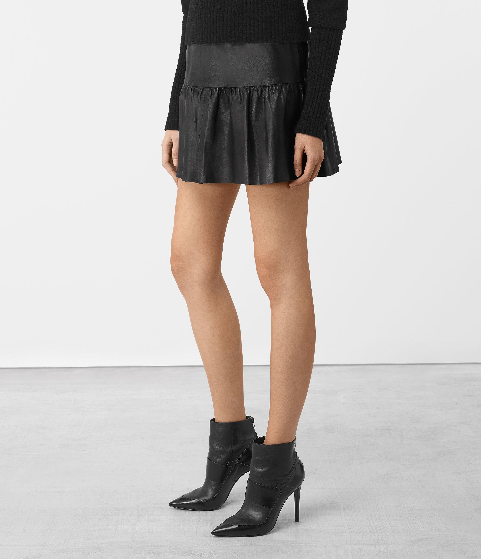allsaints haslam leather skirt in black lyst