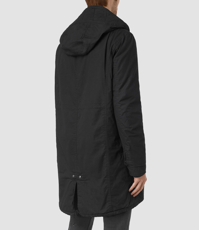 Allsaints Leyden Parka Coat in Black for Men | Lyst