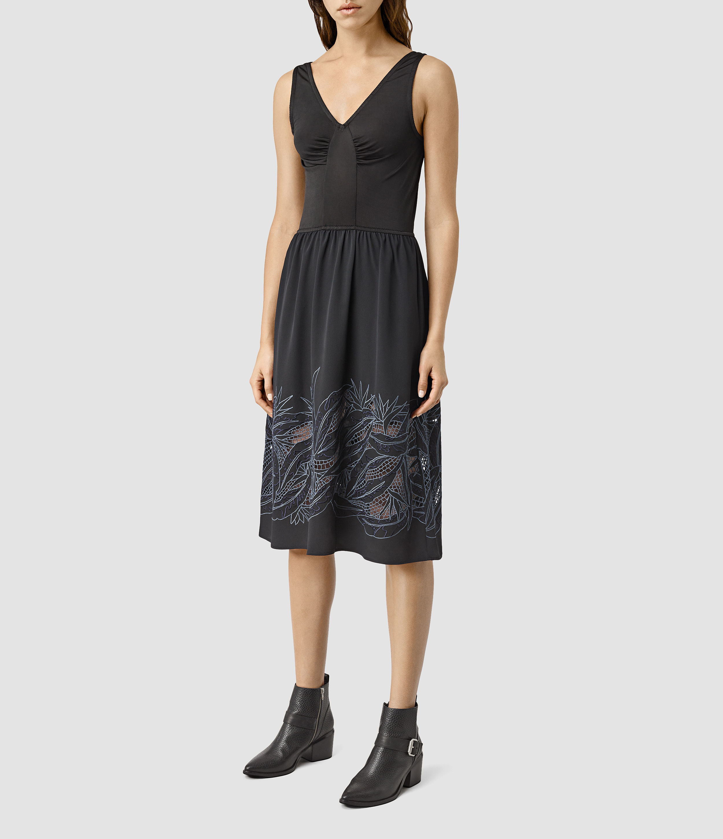Allsaints Nancy Long Embroidered Dress Usa Usa In Black  Lyst
