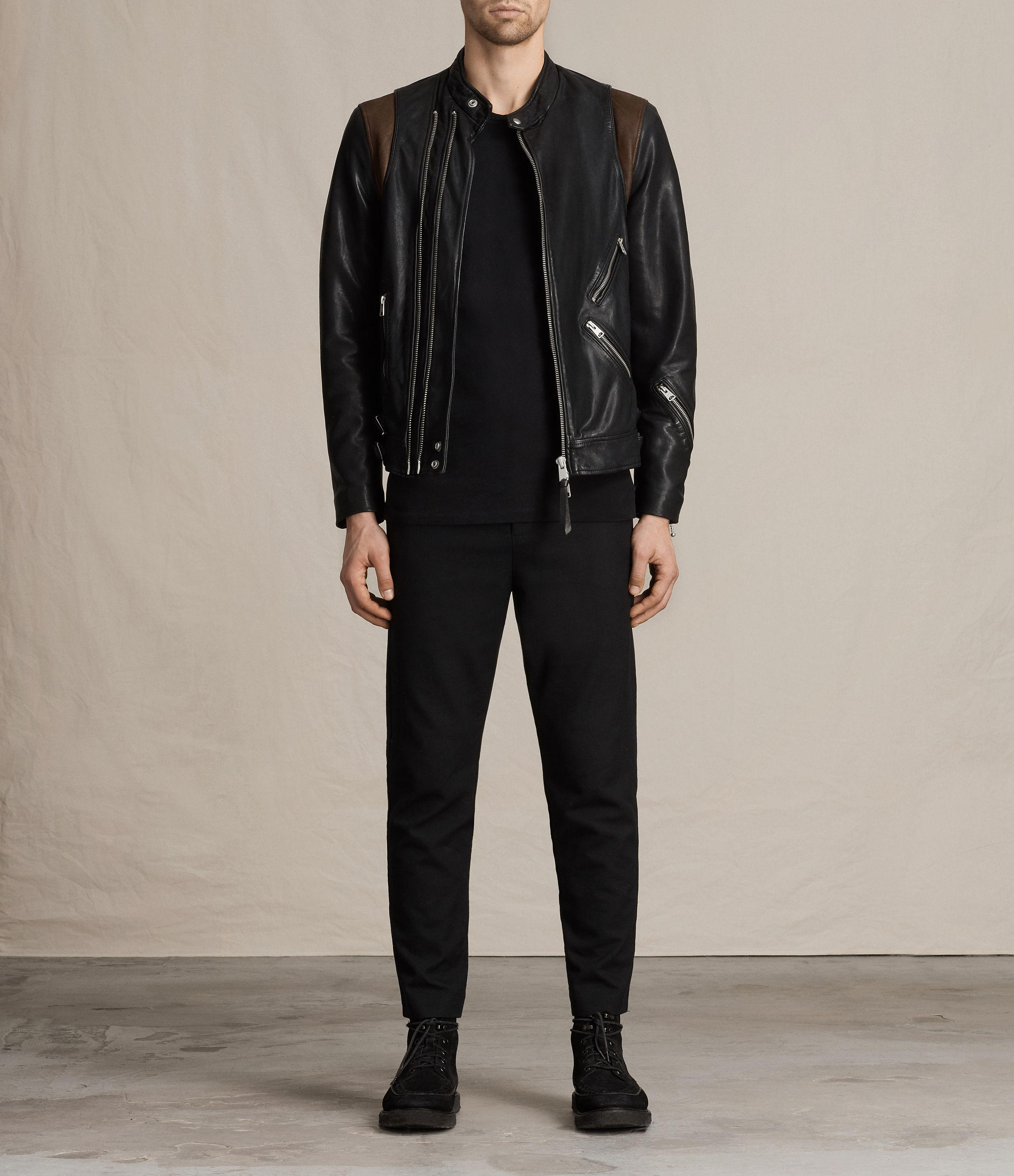 Lyst Allsaints Parker Leather Jacket In Black For Men