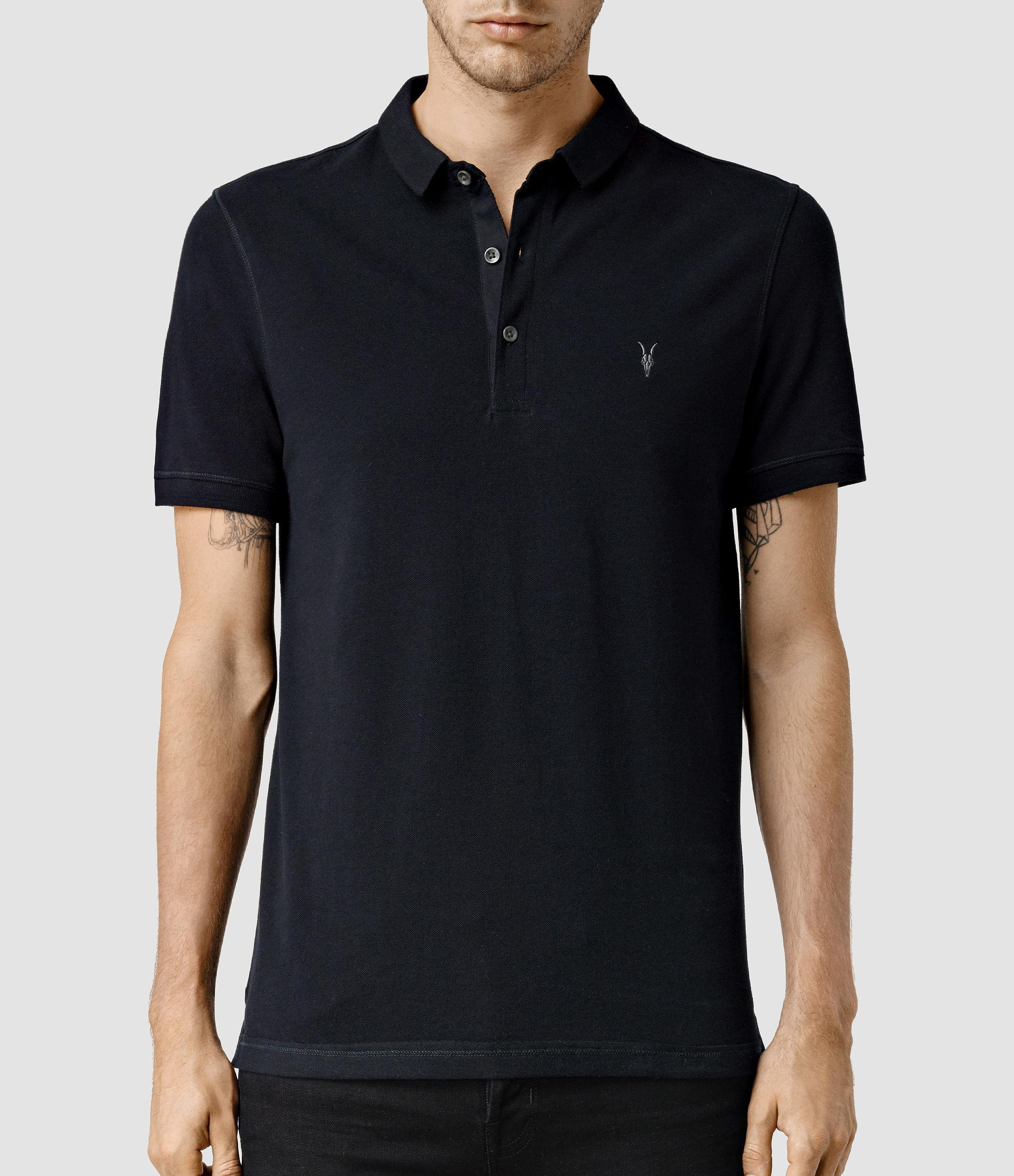 Lyst allsaints reform polo shirt in black for men for All saints polo shirt