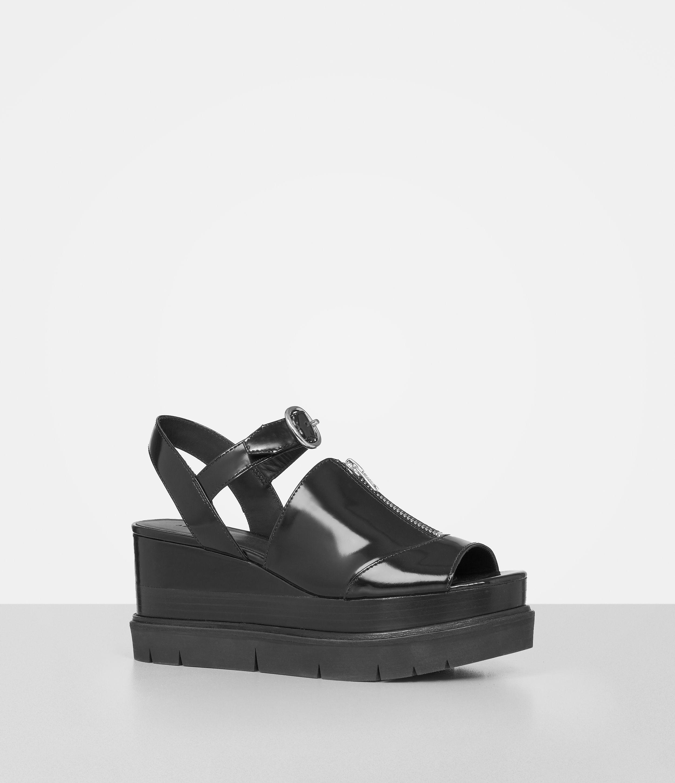 6bbcb3411c91 Lyst - AllSaints Gino Platform Wedge Sandals in Black
