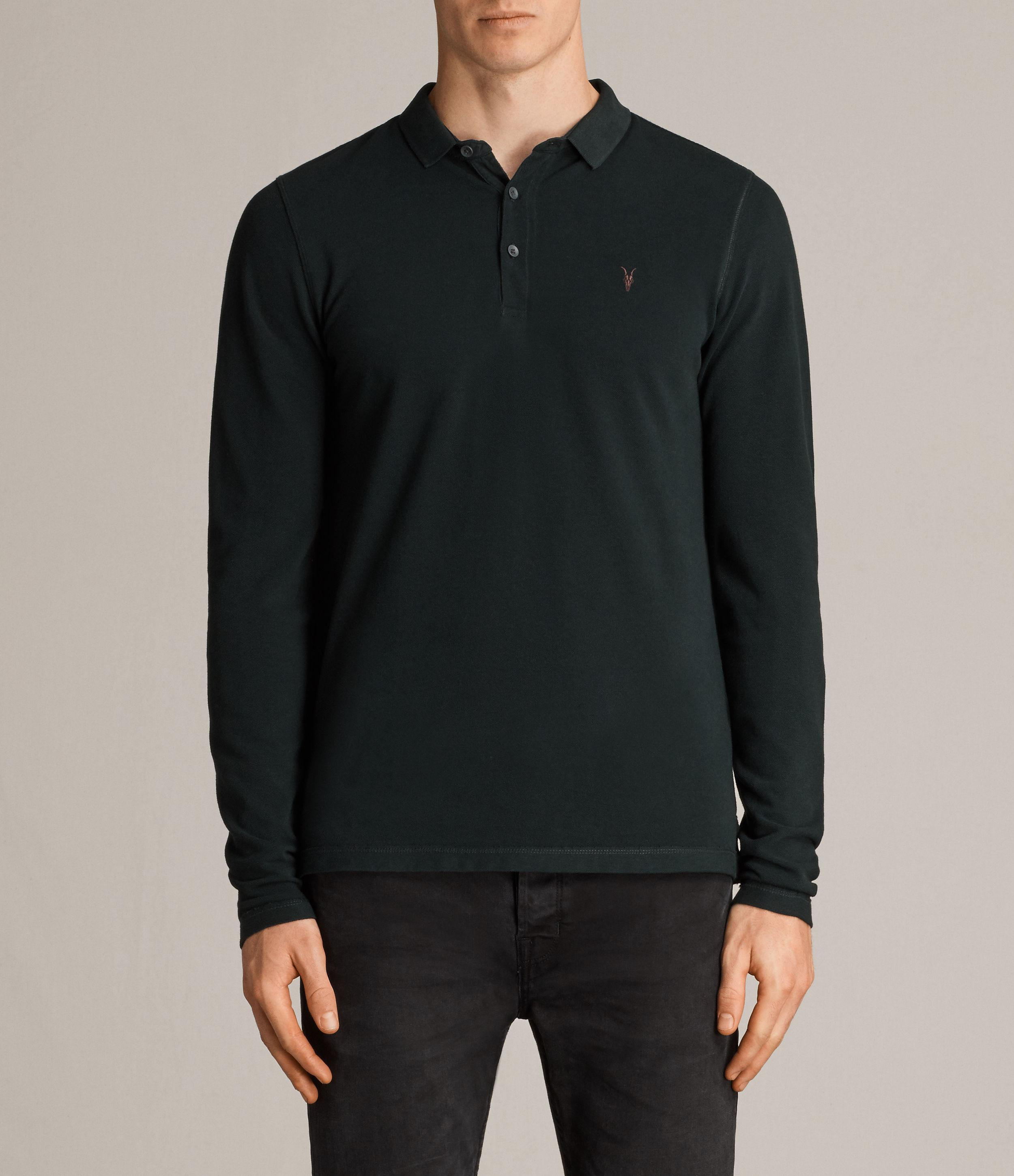 Lyst allsaints reform long sleeve polo shirt in black for All saints polo shirt