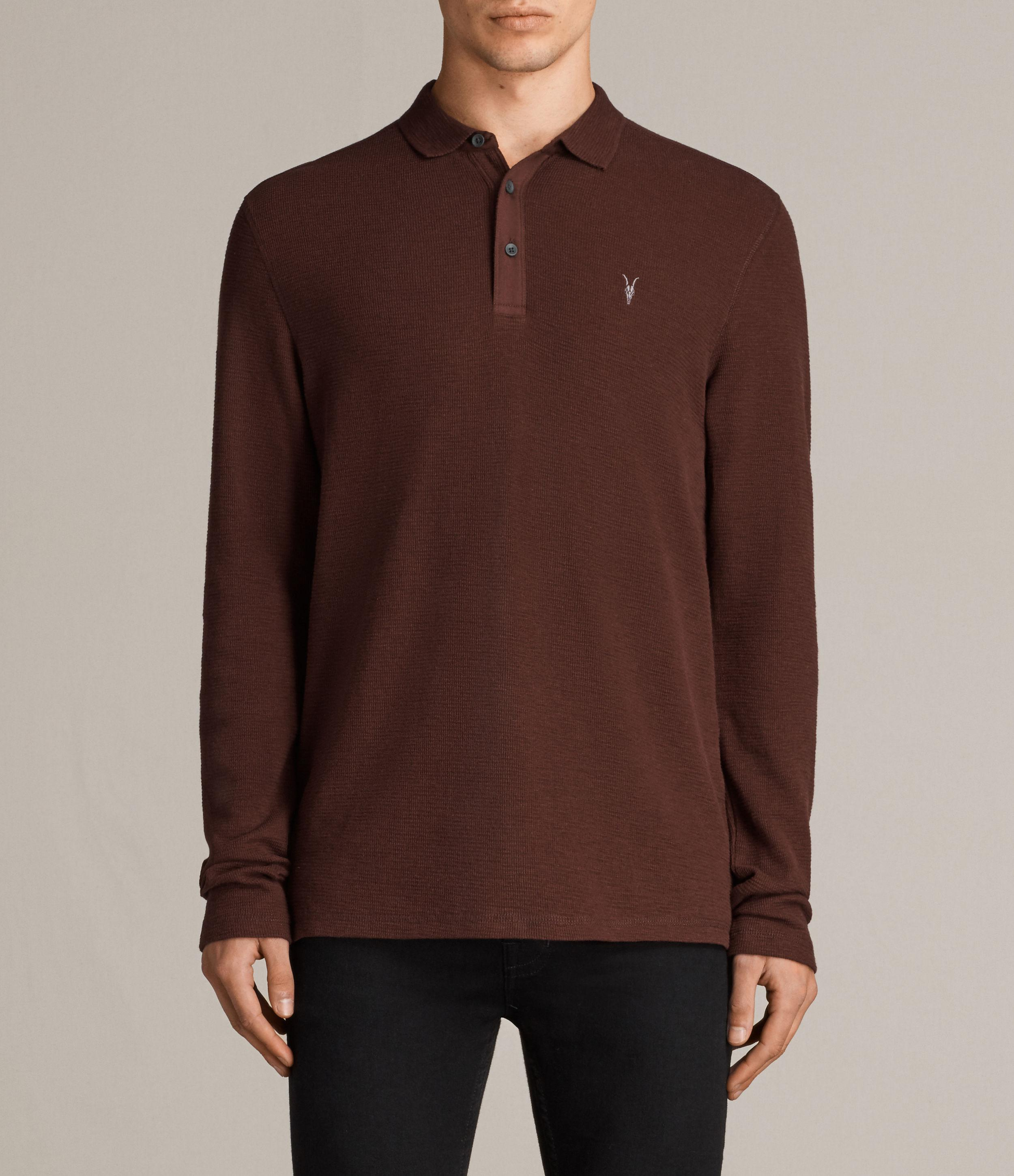 Allsaints clash long sleeve polo shirt in brown for men lyst for All saints polo shirt