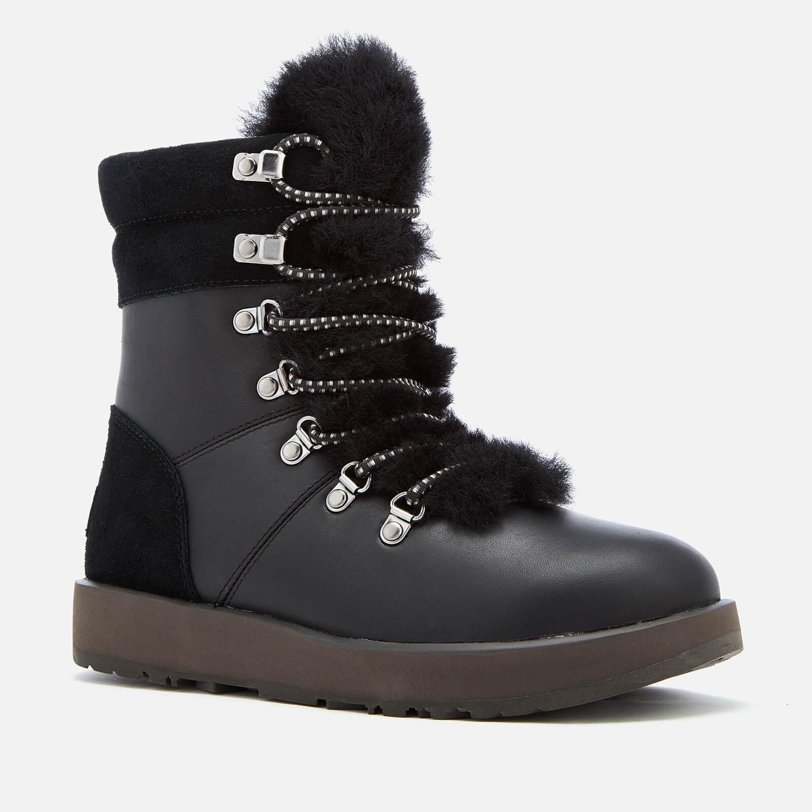 d93199538c0 UGG Women's Viki Waterproof Leather Lace Up Boots in Black - Lyst