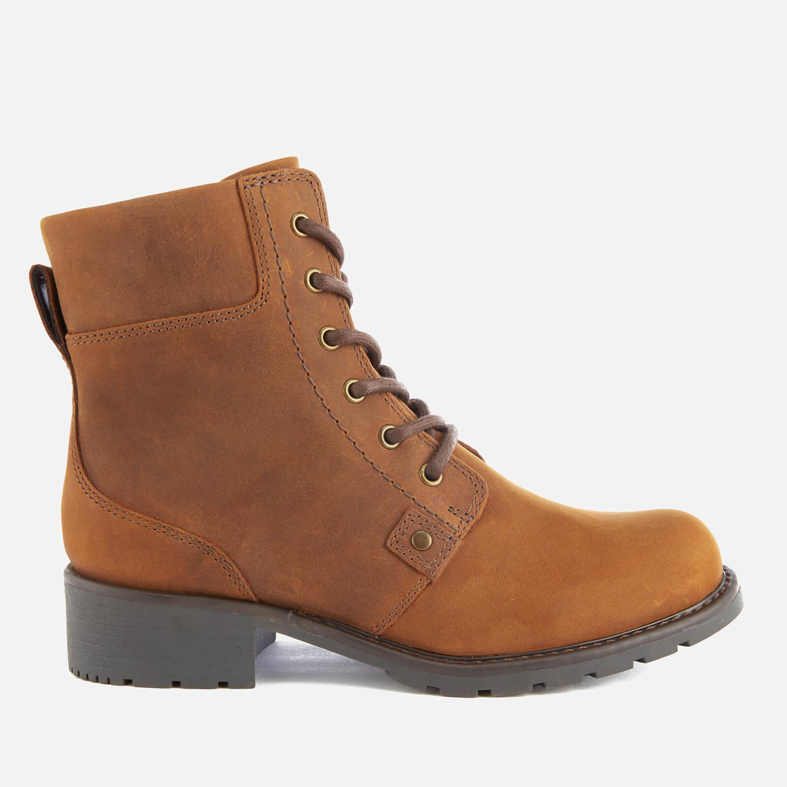Clarks. Brown Women's Orinoco Spice Leather Lace Up Boots