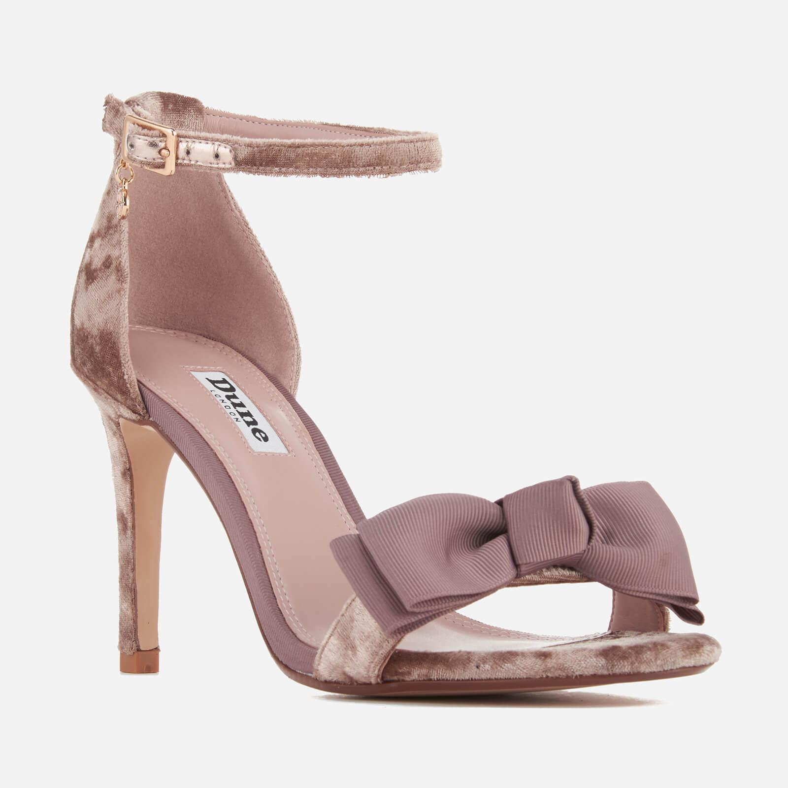 fc0c922321a Dune - Gray Women s Moella Velvet Bow Barely There Heeled Sandals - Lyst.  View fullscreen