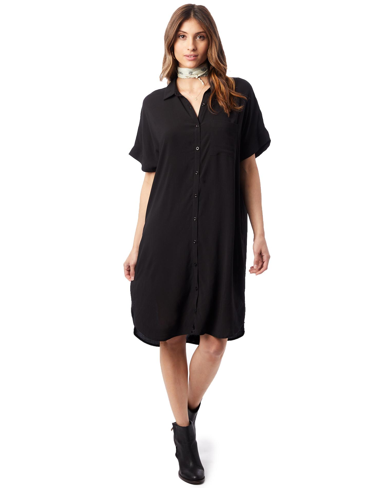 2bdcc5beafbfe Lyst - Alternative Apparel Rayon Challis Button Down Dress in Black