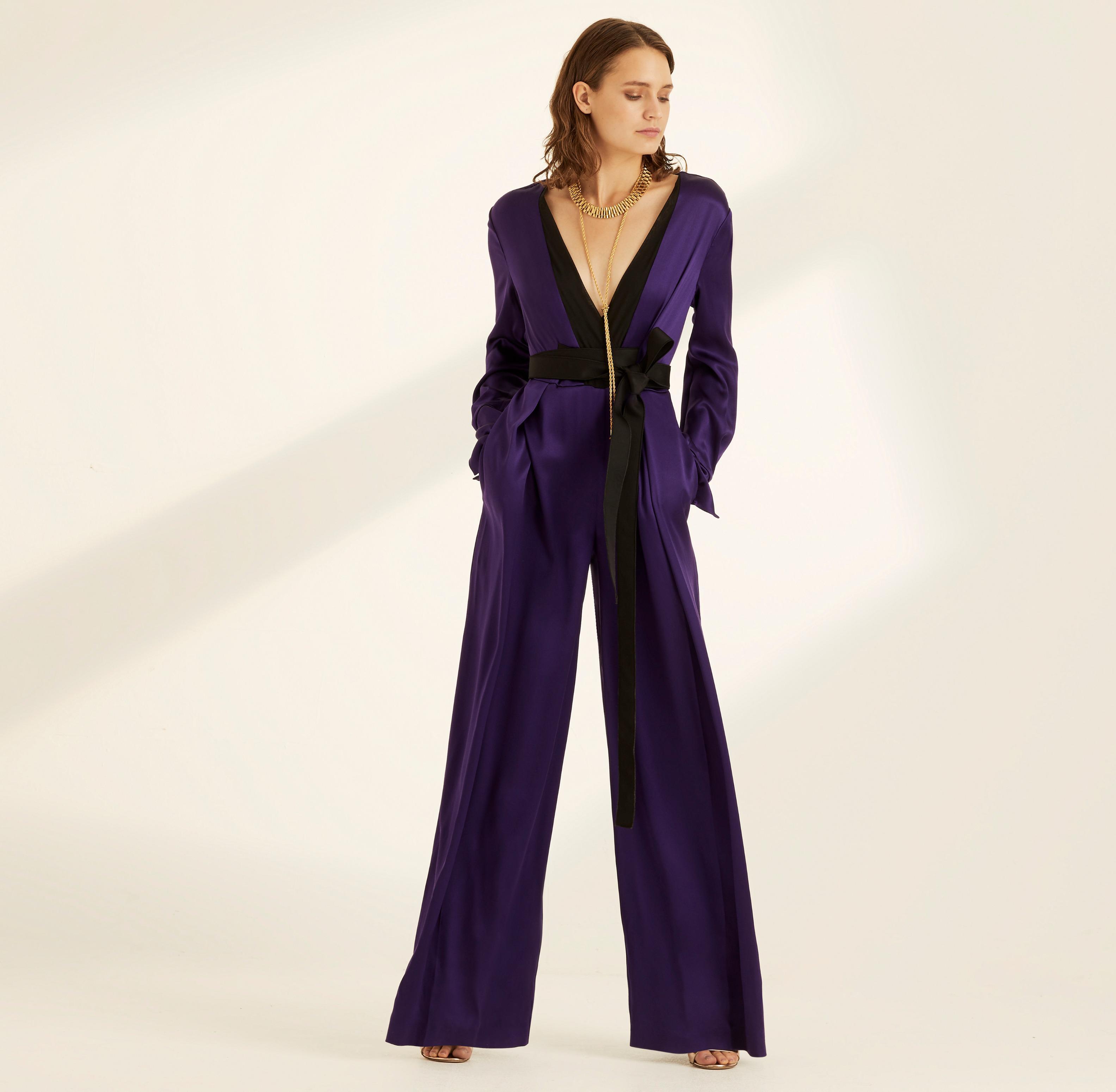 200d1f7c5739 Lyst - Amanda Wakeley Violet Crepe Back Satin Jumpsuit in Purple