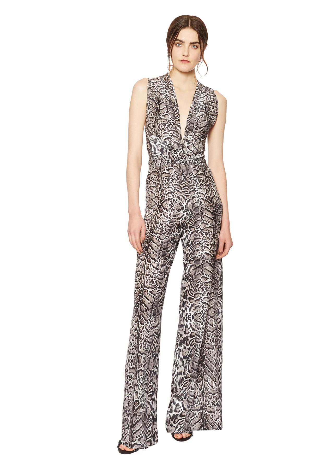 5335b4876ee3 Lyst - Amanda wakeley Delray Silver Leopard Print Jumpsuit .