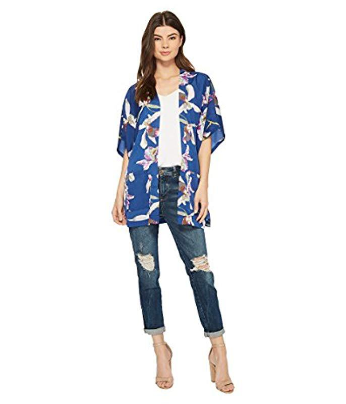 e2ece8e4541 Steve Madden. Women's Blue Neutral Hibiscus Floral Loose Half Sleeve Kimono  Loose Top