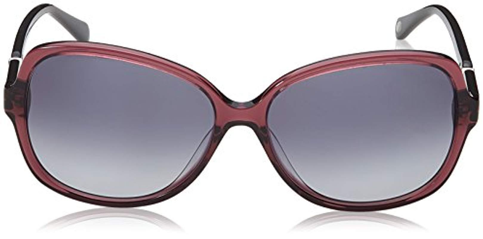 d5fdfd37da Lyst - Fossil Fos 2046 s Rectangular Sunglasses Red Black 59 Mm in ...