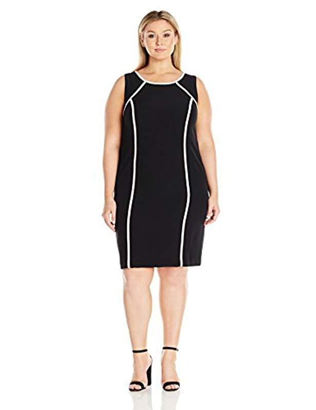 Lyst Kasper Plus Size Short Sleeve Dress With Pink Trim In Black
