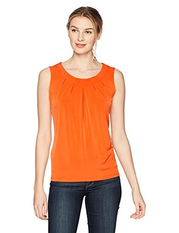 96176e7606ab0c Lyst - Kasper Ity Topstich Pleat Neck Cami in Orange