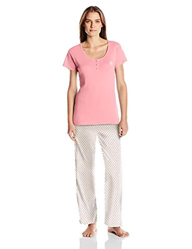 11918bac5 Lyst - Tommy Hilfiger Top And Cotton Logo Pant Pajama Set Pj in Pink