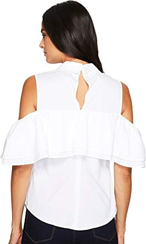 3bc969478db63 Trina Turk - White Basinger Polished Shirting Cold Shoulder Top - Lyst.  View fullscreen