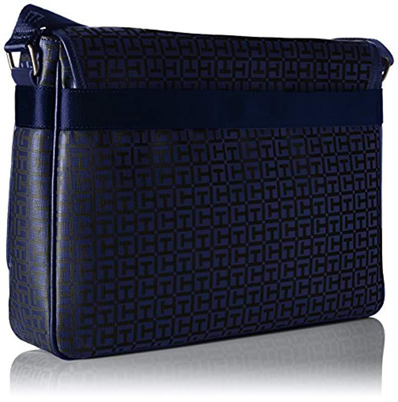 876a2c2731 Lyst - Tommy Hilfiger Darren Signature Flap Messenger Bag in Blue ...
