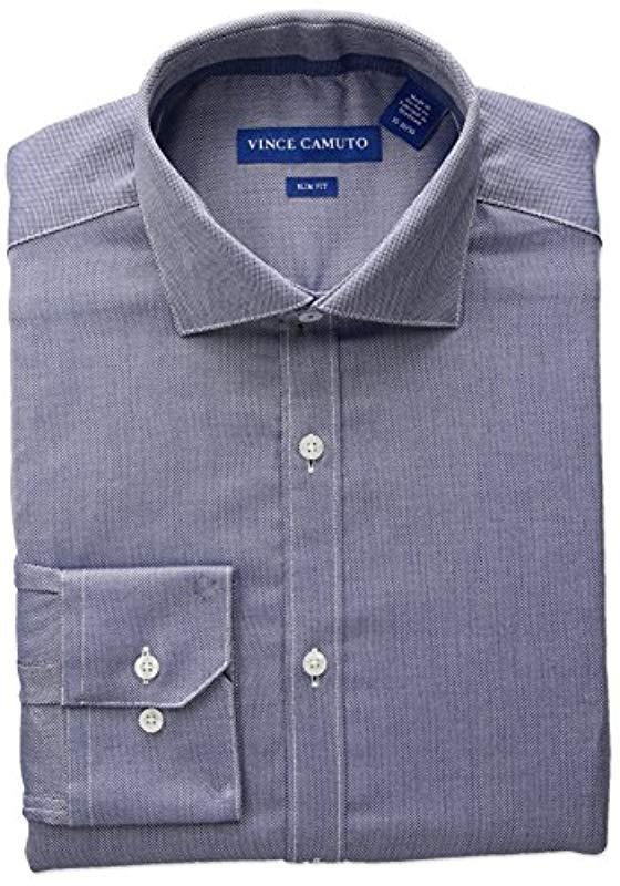 7bc0f861b9a Vince Camuto - Blue Slim Fit Stretch Diagonal Dobby Dress Shirt With Collar  for Men -. View fullscreen