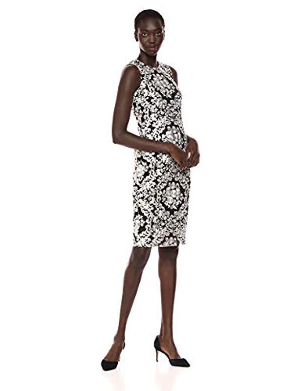 Lyst Calvin Klein Lace Sheath With Illusion Neckline Dress In Black