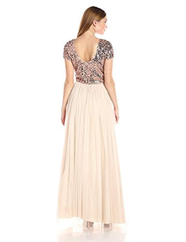 4c355ffafeb Lyst - Adrianna Papell Short Sleeve Sequin Crop Top With Tulle Skirt