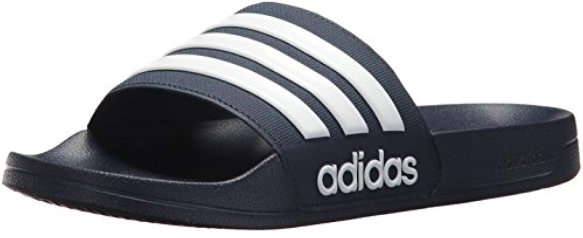 7d908c252bc7a adidas Adilette Shower Slide Sandal, White/collegiate Navy, 8 M Us ...