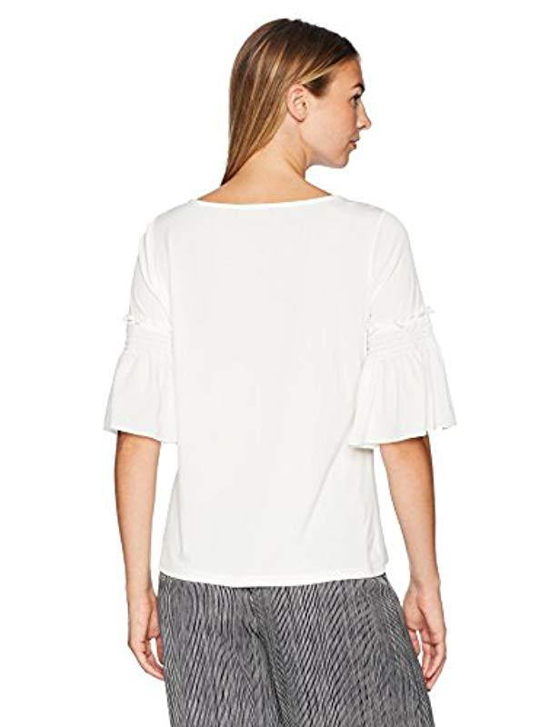 11a8a3c5a4e Lyst - Ivanka Trump Flared Sleeve Knit Top in White - Save 5.79710144927536%